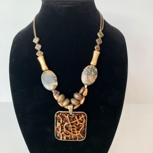 Chico's Tortoise and Ivory Bead Necklace